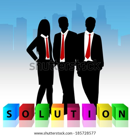 Group of business man and business woman with colorful cube box and word solution. - stock vector