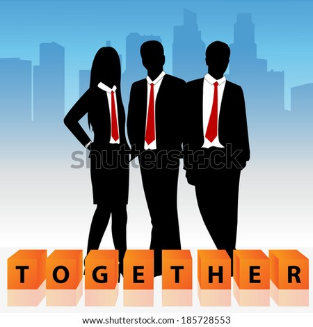 Group of business man and business woman with cube box and word together.  - stock vector