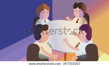 Group of business men, member, team, employee, people cartoon characters having round table conference meeting. Office room interior. Discussion, debate, talk, plan, creative idea, conversation, argue - stock vector