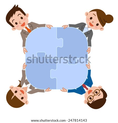 Group of business people assembling jigsaw puzzle. Isolated on white - stock vector