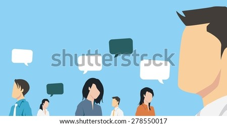 Group of business people communicating - stock vector