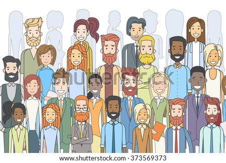 Group of Business People Face Big Crowd Businesspeople Diverse Ethnic Vector  Illustration - stock vector