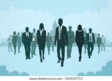 Group of Business People Silhouettes Walking Forward Concept Businesspeople Vector Illustration - stock vector