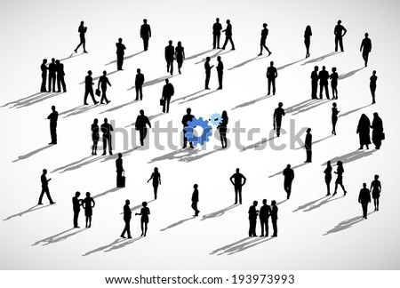 Group of business people standing in a white background with blue gears in the center. - stock vector