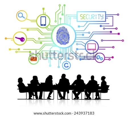 Group of Business People with Security System - stock vector