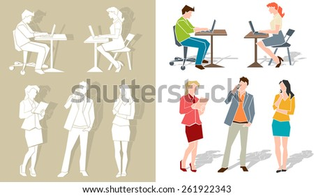 Group of business people working - stock vector