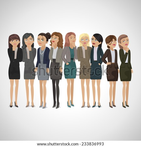 Group Of Business Women Thinking - Isolated On Gray Background - Vector Illustration, Graphic Design Editable For Your Design  - stock vector