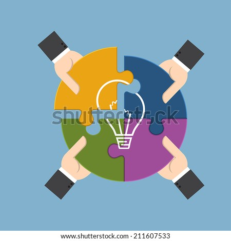 Group of businessman holding pieces of jigsaw puzzle bearing a light bulb, represent for team support, brainstorm or success to find  perfect idea concept.  - stock vector