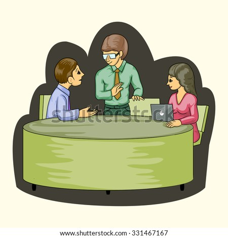 group of businessman in meeting table isolated - stock vector