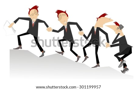 Group of businessman join hands and help each other in business - stock vector