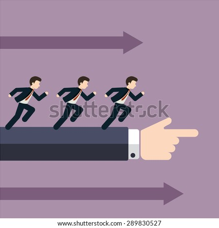 Group of businessman running in the same direction with big businessman's hand pointing to, business concept in leadership leading guideline to followers.  - stock vector
