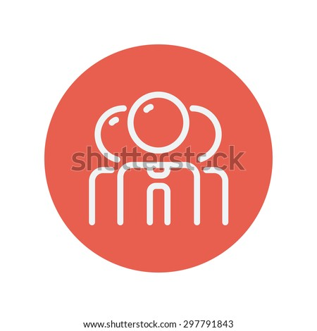 Group of businessman thin line icon for web and mobile minimalistic flat design. Vector white icon inside the red circle. - stock vector