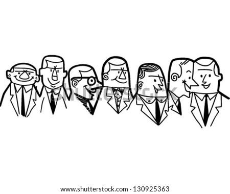 Group Of Businessmen - Retro Clip Art Illustration - stock vector
