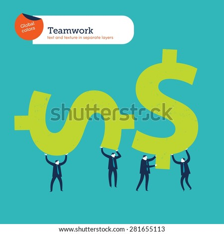 Group of businesspeople carrying money signs. Vector illustration Eps10 file. Global colors. Text and Texture in separate layers. - stock vector