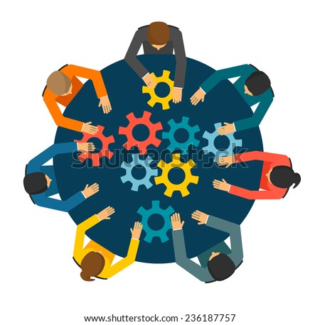 Group of BusinessPeople joining together gears on the table, teamwork concept - stock vector