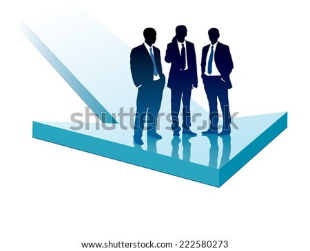 Group of businesspeople standing on a large blue arrow - stock vector