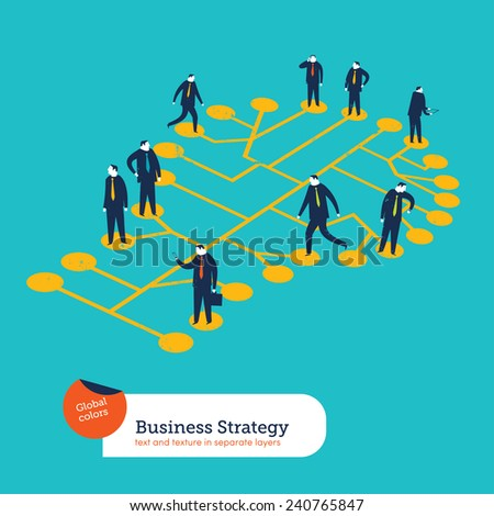 Group of businesspeople walking on a bulb. Vector illustration Eps10 file. Global colors. Text and Texture in separate layers. - stock vector