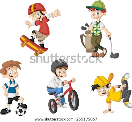 Group of cartoon boys playing various sports - stock vector