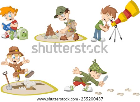 Group of cartoon explorer boys wearing different costumes - stock vector