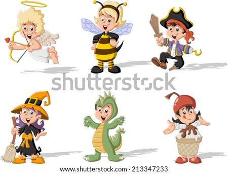 Group of cartoon kids wearing different costumes - stock vector