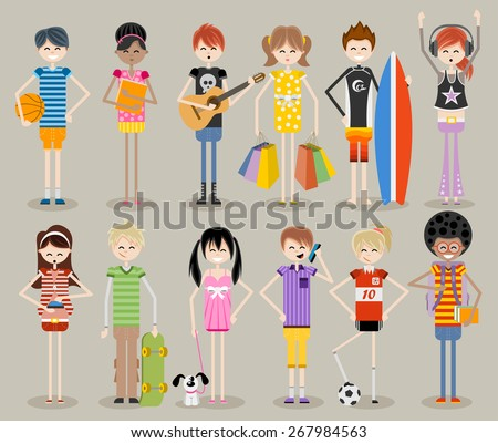 Group of cartoon young people. Cool teenagers. - stock vector