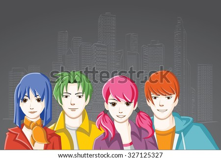 Group of cartoon young people in the city. Manga anime teenagers.  - stock vector