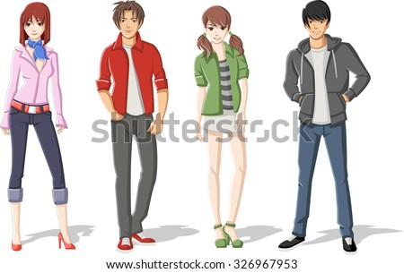 Group of cartoon young people. Manga anime teenagers.  - stock vector