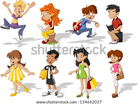 Group of cartoon young people. Teenagers. - stock vector