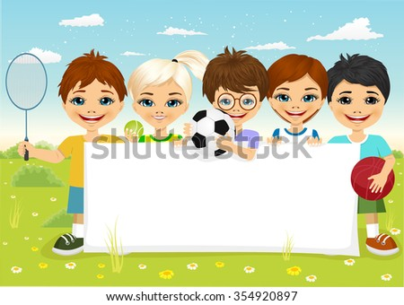 group of caucasian children with different sports equipment holding a blank board woth copyspace for text - stock vector