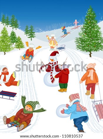 Group of cheerful children sledding and skiing. All objects are grouped. - stock vector