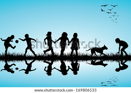 Group of children and a dog playing outdoor - stock vector