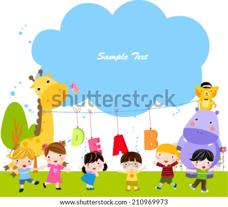 Group of children and frame - stock vector