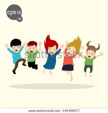Group of children jumping - stock vector
