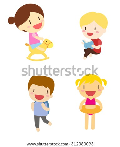 Group of children playing - stock vector