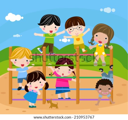 Group of children playing-vector - stock vector