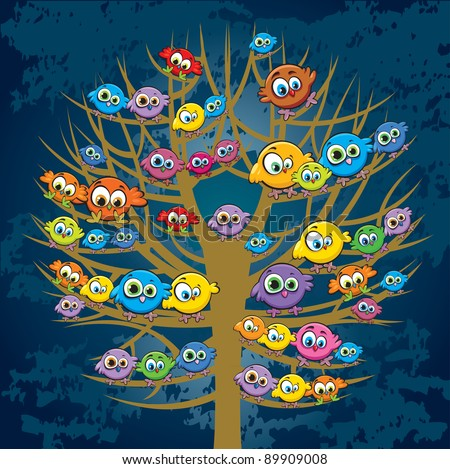 Group of colored funny birds sitting on a tree - stock vector