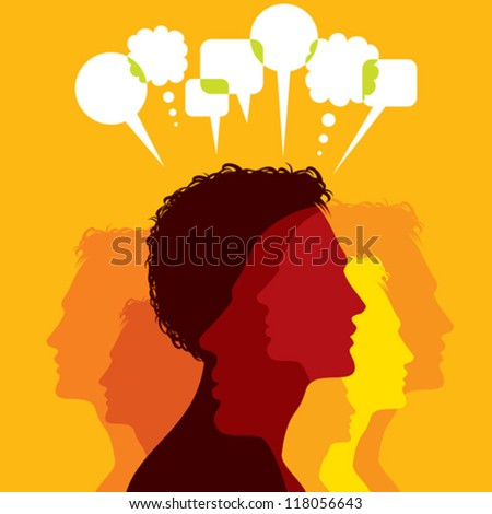 Group of colorful business people network and communicate in speech bubbles. - stock vector