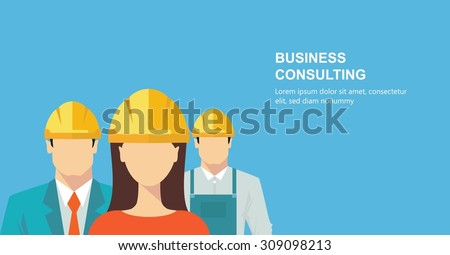 Group of construction workers - stock vector