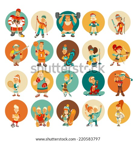 Group of cute cartoon sportsmen in bright colors. Vector illustration - stock vector