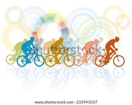 Group of cyclist in the bicycle race - stock vector
