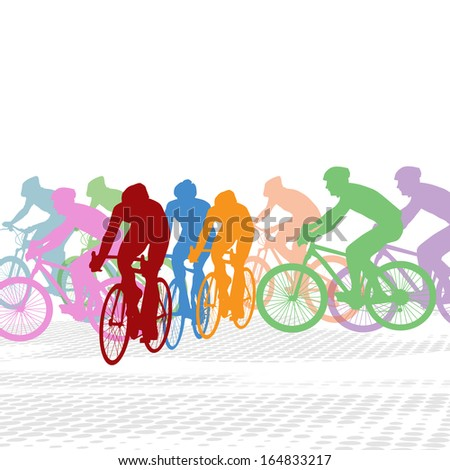 Group of cyclist in the bicycle race on white, vector illustration - stock vector