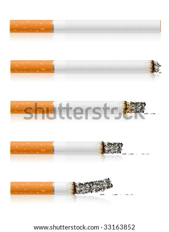 group of different stages of smoking a cigarette - vector illustration - stock vector