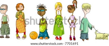 group of different teen-age children isolated on white background (vector illustration ) - stock vector