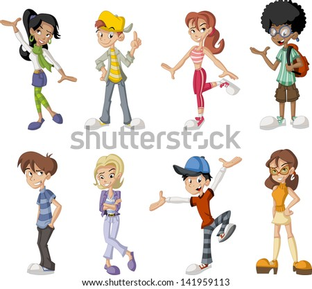 Group of eight happy cartoon children. Teenagers.  - stock vector