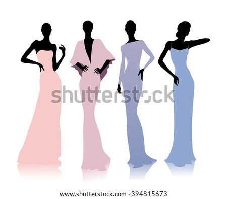 Group of female silhouettes in fashion dresses - stock vector