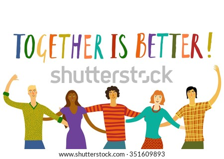 Group of five happy friends, boys and girls, hugging each other. Cartoon hand drawn illustration for your design. - stock vector