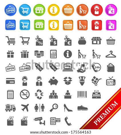 Group of Flat Shopping Icons an Buttons. - stock vector