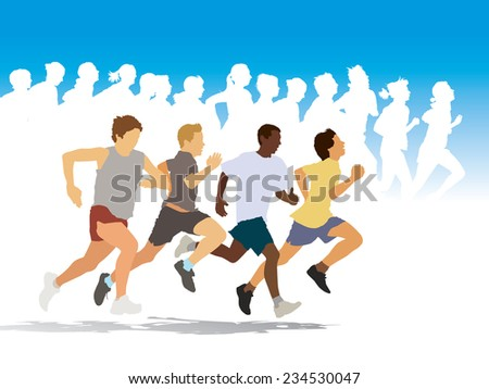Group of four young people running in the race. - stock vector