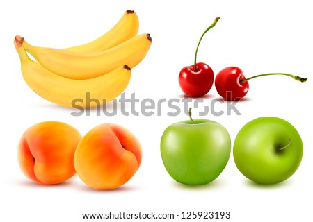 Group of fresh colorful fruit. Vector illustration. - stock vector