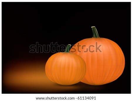 Group of fresh pumpkins. Photo-realistic vector illustration. - stock vector